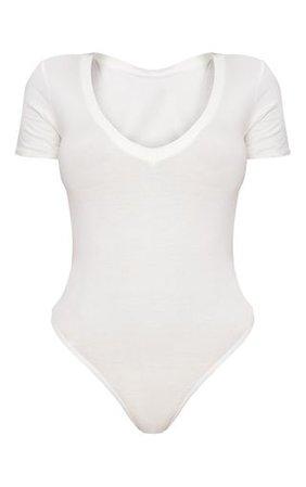 Shape White Jersey V Neck Bodysuit | PrettyLittleThing