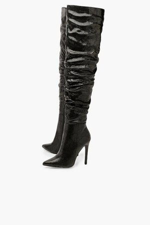 Snake Rouched Snake Knee High Boots | Boohoo