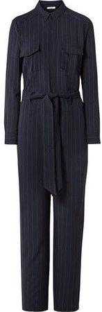 Clark Pinstriped Crepe Jumpsuit - Midnight blue