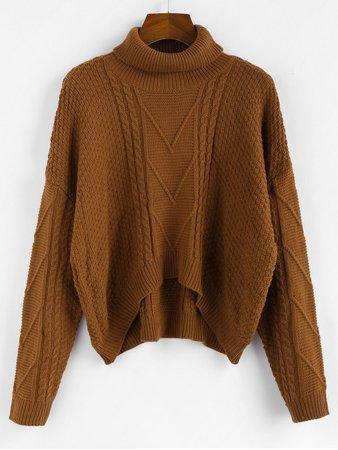 [36% OFF] 2019 ZAFUL Drop Shoulder High Low Turtleneck Sweater In COFFEE   ZAFUL Europe