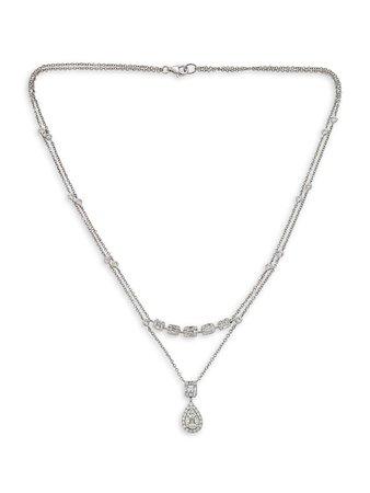 Zydo Mosaic 18K White Gold & Diamond Double-Chain Pendant Necklace