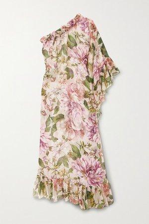 One-sleeve Ruffled Floral-print Silk-chiffon Maxi Dress - Pink