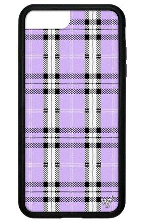 Purple plaid phone case