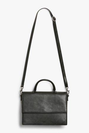 Faux leather satchel - Black - Bags - Monki WW