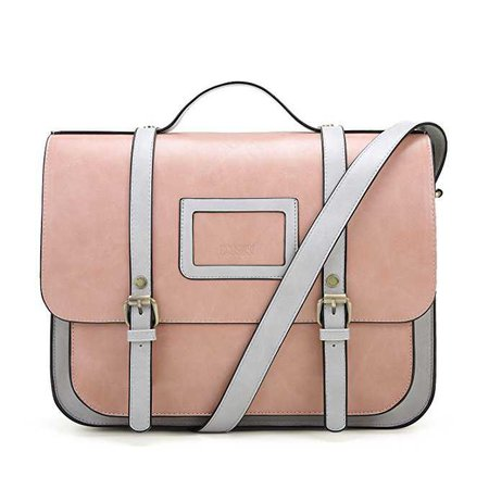 Amazon.com: ECOSUSI Women Briefcase Vintage Crossbody Messenger Bag PU Leather Satchel Purse, Pink: Computers & Accessories
