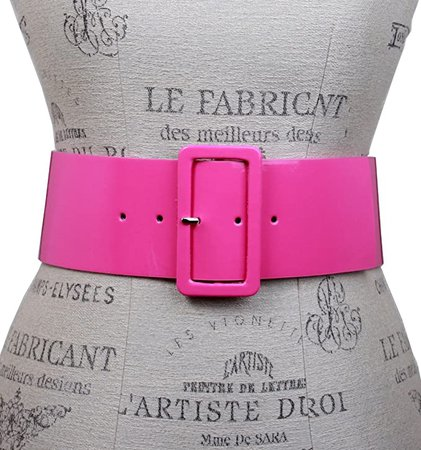 """Ladies High Waist Patent Leather Wide Fashion Square Belt, Hot Pink 