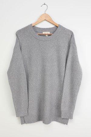 Light Grey Sweater - Knit Sweater - Oversized Tunic Sweater - Lulus