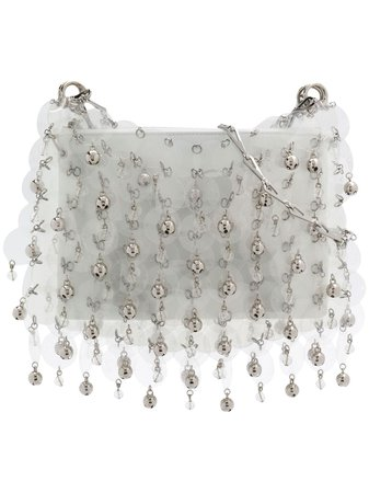 Paco Rabanne Beaded Sequin Shoulder Bag 18HICONGL7RHOSI06412 White | Farfetch