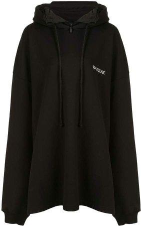 Layered-Neck Oversized Hooded Sweatshirt
