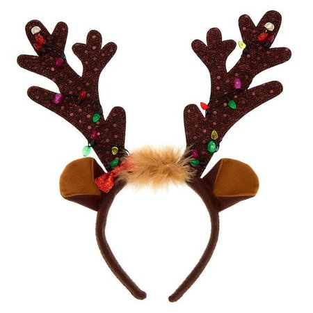 Christmas Light Up Reindeer Antlers Headband Holiday Girl's One Size