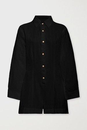 The Lauren Cotton And Linen-blend Playsuit - Black