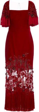 Marchesa Fringed Crepe De Chine Dress