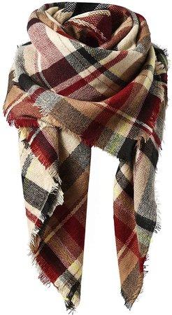 Zando Plaid Blanket Scarf Chunky Blanket Fall Stylish Scarves Women Soft Oversized Scarf Shawl Wrap Warm Cape Tassel Pink Light Red Scarfs at Amazon Women's Clothing store