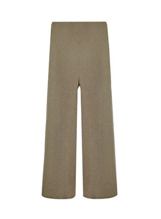 Khaki Textured Wide Leg Trousers   Miss Selfridge