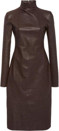 Mock Neck Leather Midi Dress