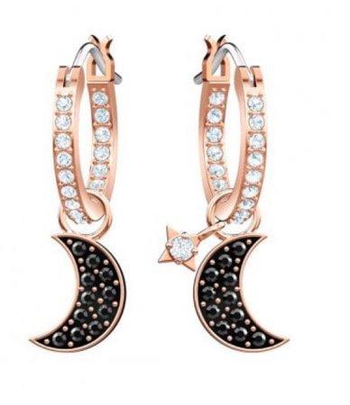 Moon Earrings Rose Gold/ Black
