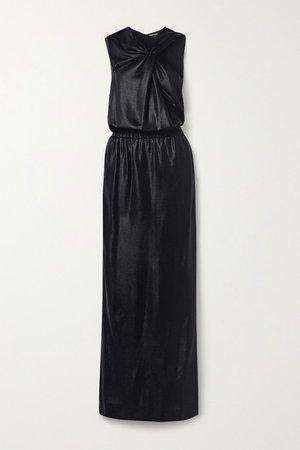 Cutout Draped Stretch Satin-pique Gown - Black
