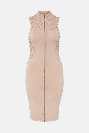 Stud Zip Through Sleeveless Dress | Karen Millen