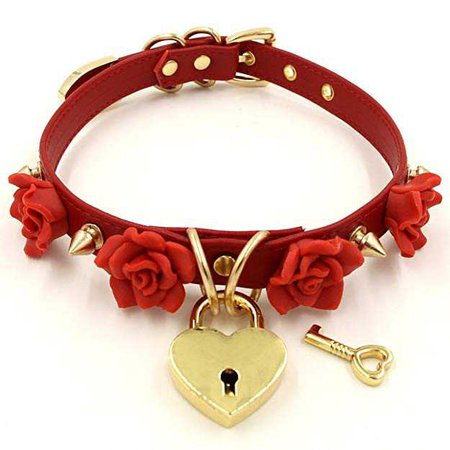 Amazon.com: Handmade Clay Flowers Spikes Heart Lock Faux Leather Choker Collar (Red with gold alloy): Jewelry