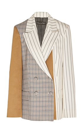 Paneled Double-Breasted Silk Blazer by Oscar de la Renta | Moda Operandi