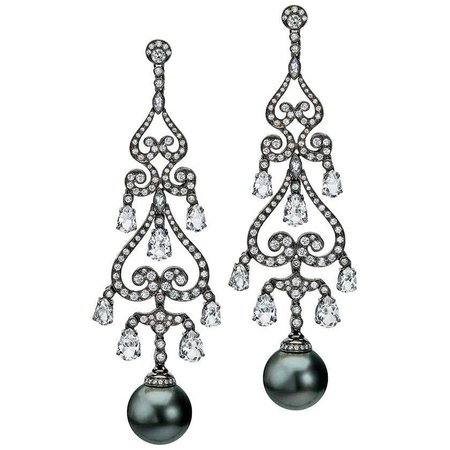 Autore Black Tahitian Pearl Chandelier Earrings with Diamonds and White Topaz For Sale at 1stDibs