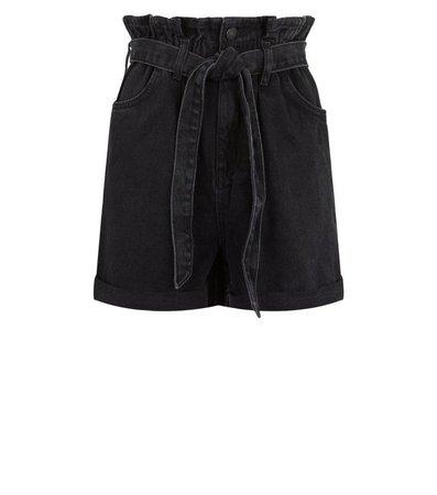 Black Tie Waist Denim Shorts | New Look