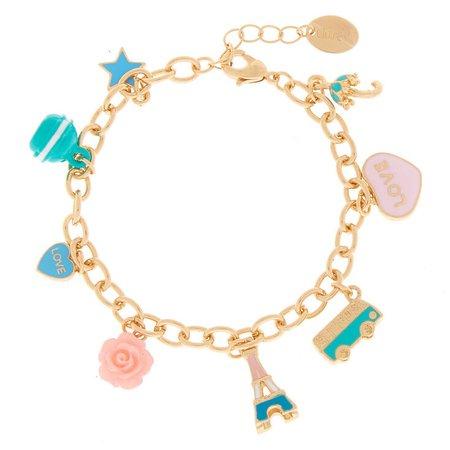 Gold Paris Charm Bracelet - Turquoise | Claire's US