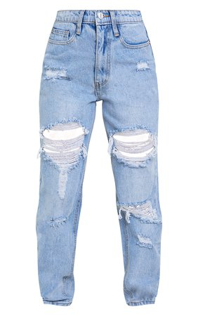 Plt Petite Light Blue Wash Distressed Mom Jeans | PrettyLittleThing USA