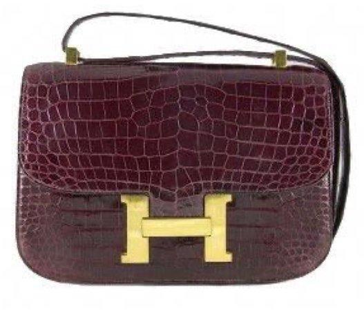 burgundy alligator bag