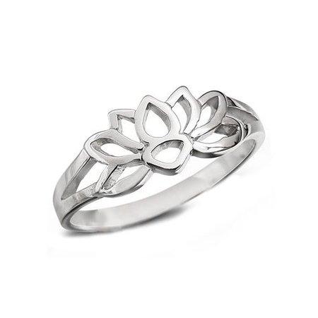 silver lotus flower ring