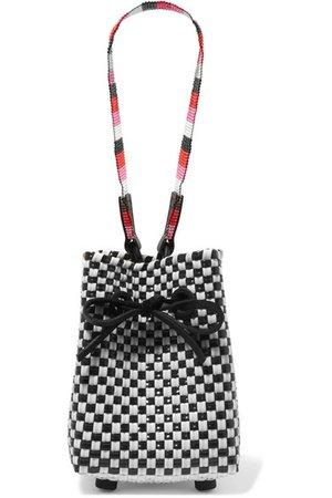 Truss | Party mini woven raffia-effect wristlet bag | NET-A-PORTER.COM