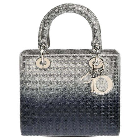 Dior Metallic Ombre Silver Microcannage Patent Leather Medium Lady Dior Tote at 1stDibs