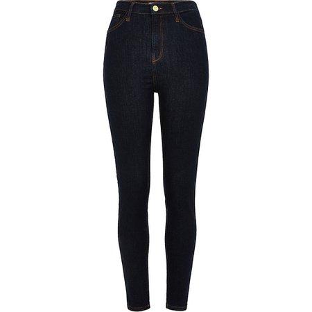 Dark blue Hailey high rise skinny jeans | River Island