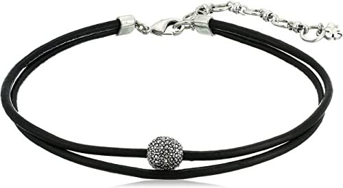Amazon.com: Lucky Brand Leather Choker Necklace, Silver, One Size: Clothing