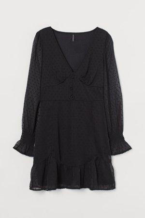 Chiffon and Plumeti Dress - Black