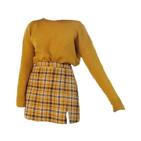 Yellow Long Sleeve Sweater & Yellow Plaid Skirt (png)