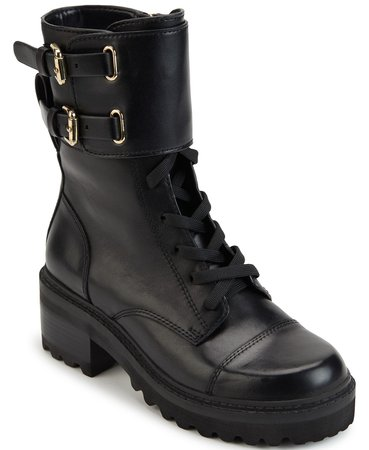DKNY Women's Bart Lace-Up Buckled Lug Sole Booties & Reviews - Boots - Shoes - Macy's