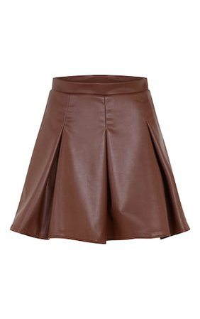 Camel Faux Leather Skater Skirt | PrettyLittleThing USA