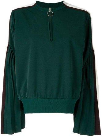 flared sleeves henley sweatshirt