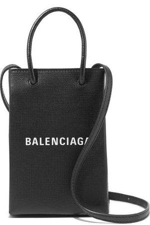 Shopping Printed Croc-effect Leather Shoulder Bag - Black