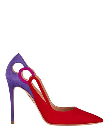 Aquazzura Fenix 105 Colorblock Suede Pumps | INTERMIX®