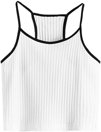SheIn Women's Summer Basic Sexy Strappy Sleeveless Racerback Crop Top at Amazon Women's Clothing store