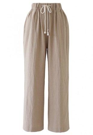 Drawstring Waist Wide-Leg Pants in Linen - Pants - BOTTOMS - Retro, Indie and Unique Fashion