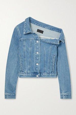 Rebecca Off-the-shoulder Denim Jacket - Blue