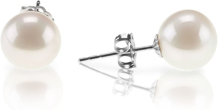 Amazon.com: PAVOI 18K Gold Plated Sterling Silver Round Stud White Simulated Shell Pearl Earrings - 6mm: Jewelry