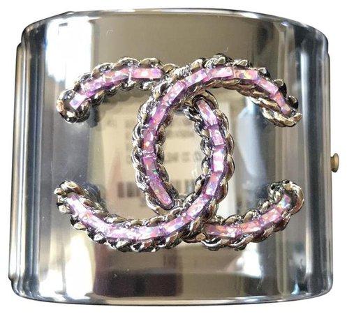 Chanel Clear Rare Pvc Purple Cuff Bracelet - Tradesy