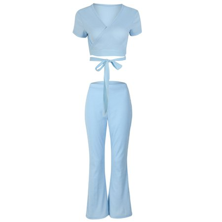 BOOFEENAA Baby Blue Rib Knit Sexy 2 Piece Set Women Club Outfits Two Piece Crop Top and Flare Pants Spring Summer 2019 C34 AE52-in Women's Sets from Women's Clothing on Aliexpress.com | Alibaba Group