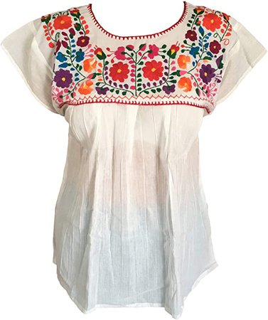 Floral Mexican Peasant Blouse - Embroidered Tehuacan Blouse - Handmade in Mexico - Blusa Campesina Poblana Mexicana - White at Amazon Women's Clothing store