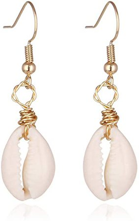 Amazon.com: Natural Cowrie Shell Earring for Women with Bohemia Style for Summer Beach (1# White): Clothing