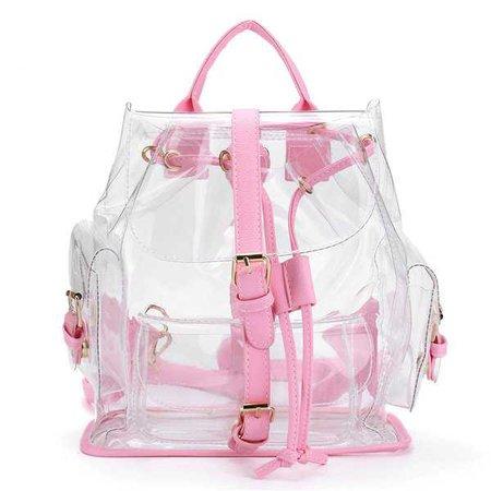 Mochila com desconto feminino Girl Cute Plastic Transparent School Bag - NewChic